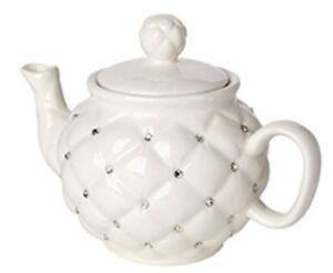 Italian-Designed-Porcelain-Teapot-Decorative-Vintage-with-Crystal-Elements-Ivory