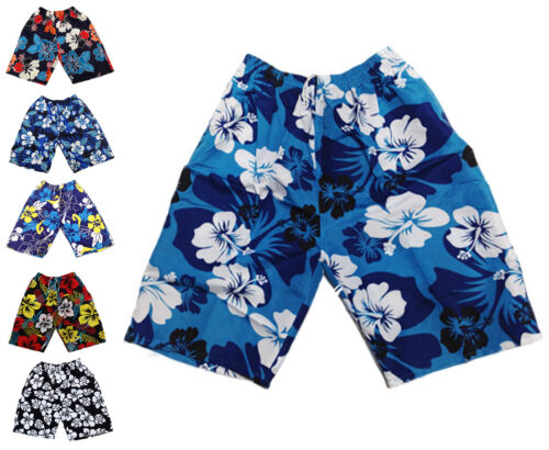 Mens Flower Summer Cargo Shorts Beach Surf Board Swim Elasticated Floral Shorts