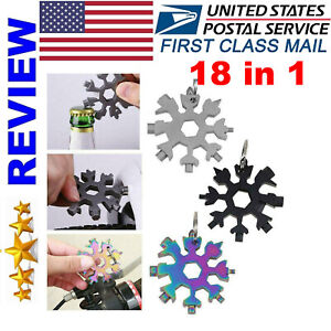 18 in 1 Portable Multi-tools Snowflake Shape Pocket Wrench Screwdriver US