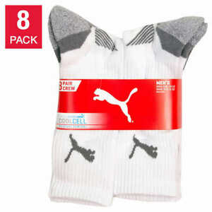 NEW!! Puma Men's 8-Pair Arch Support Cool Cell Moisture Control Crew Socks #516
