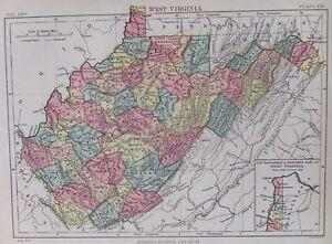OLD-ANTIQUE-MAP-WEST-VIRGINIA-AMERICA-UNITED-STATES-c1880s