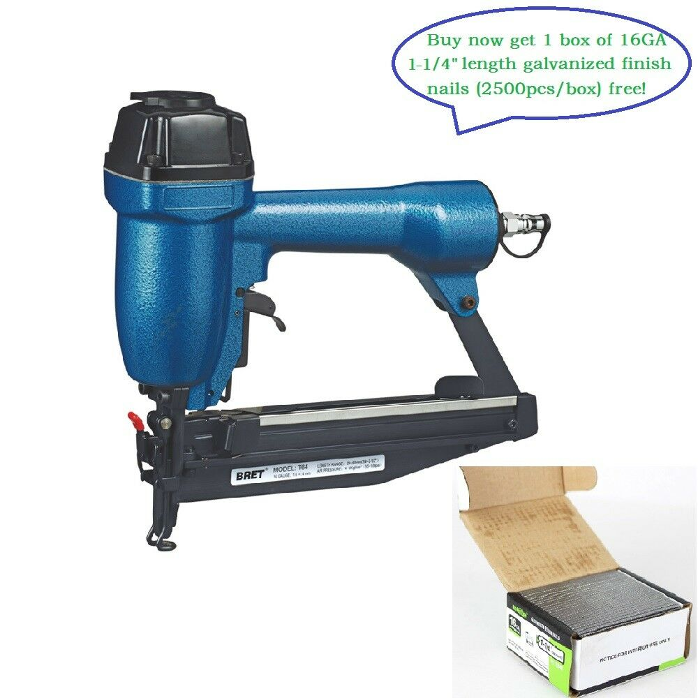 Bret T64A 16 Gauge 1-1/4 to 2-1/2'' Leg length Brad Nailer or Finish Nailer Gun