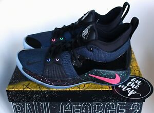 12c28dc3338 Nike PG2 Playstation Paul George 2 Zoom Air PS4 Black Blue 5 6 7 8 9 ...