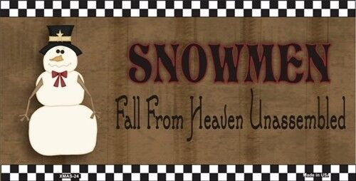 Snowmen Fall From Heaven Vanity Metal Novelty License Plate