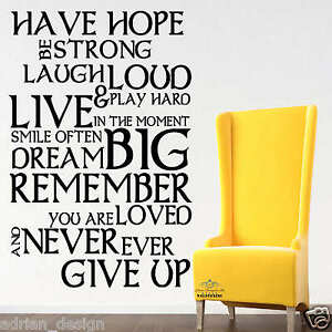 Image Is Loading Have Hope Inspirational Wall Sticker Quotes Wall Decals