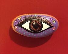 """Painted Rock JEWELED EYE By Jocelyn Bullock 3""""x1.5"""""""