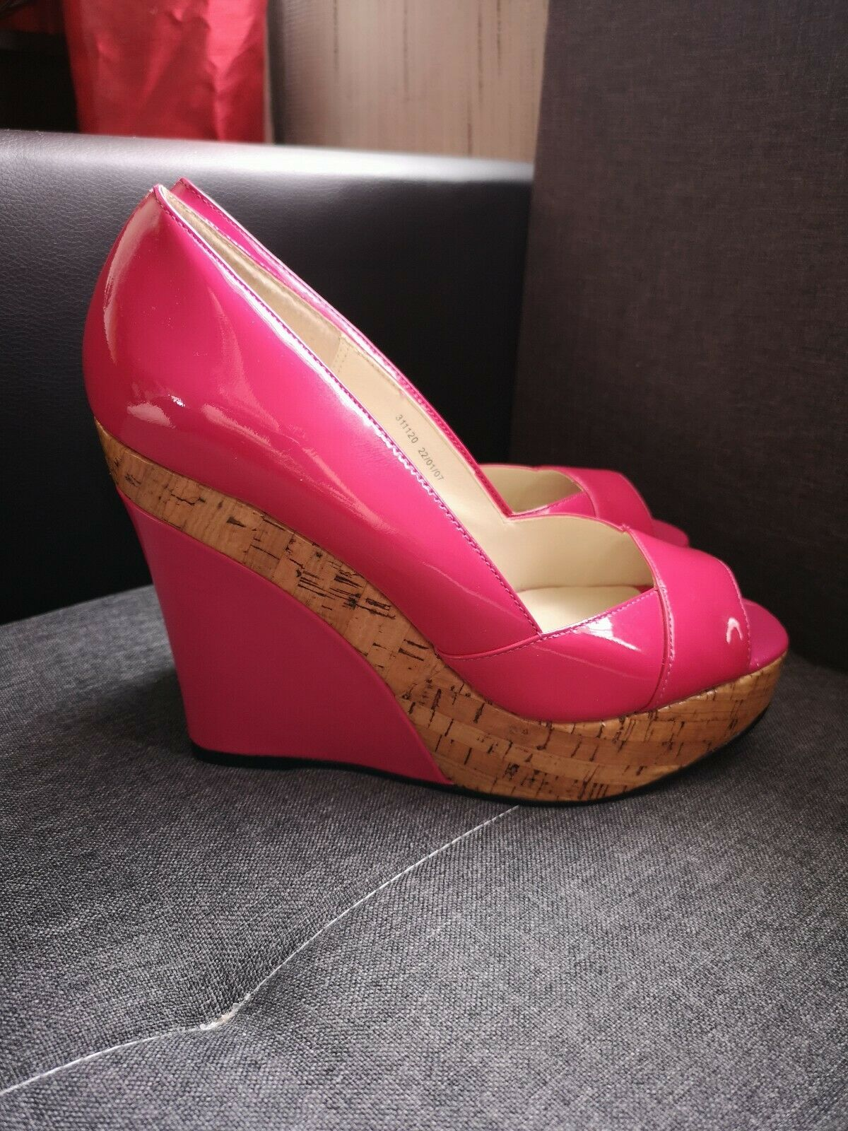 FAITH Pink Patent LEATHER Ladies Platform Wedges shoes Calista Size UK6 Rrp.