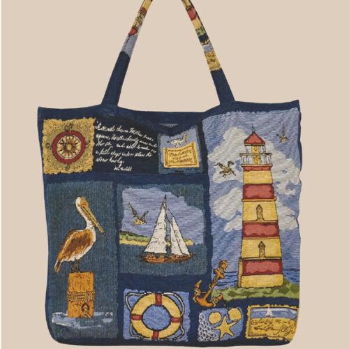 Shopper Gobelin maritim /'/'Leuchtturm/'/' Tragetasche 45//45