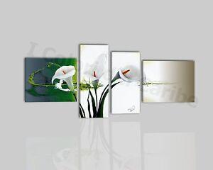 Quadri moderni astratti dipinti a mano olio su tela verde for Quadri fiori olio
