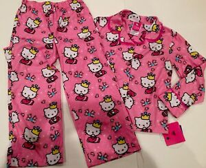 NWT HELLO KITTY Pink 2pc FLEECE Pajamas 6 PJ Button Front Top  Pants ... 3fa33ee0d