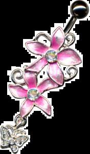 Bauchnabel Piercing mit Blumen und Schmetterling Zirkonia*