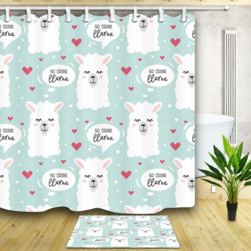 Cute llama drawing with letter Shower Curtain Bathroom Fabric /& 12hooks 71*71in