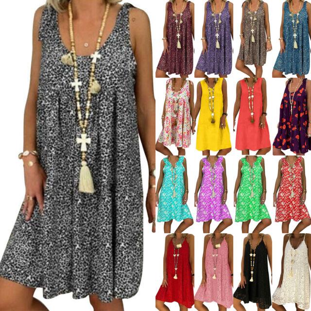 Plus Size Womens Boho Printed Vest Dress Loose Shift Sundress Summer Holiday AU
