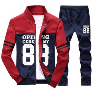 2Pcs-Men-039-s-Tracksuit-Jogging-Top-Pants-Sports-Suit-Fitness-Fall-Size-XS-4XL