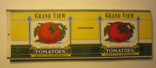 Wholesale Lot of 100 Old c.1930/'s GRAND VIEW Tomatoes CAN LABELS Warfordsburg PA