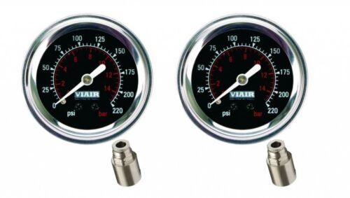 """Viair 2 Pack  2/"""" Black Face 220 PSI Max Single Needle Gauge W//Fittings Air Ride"""