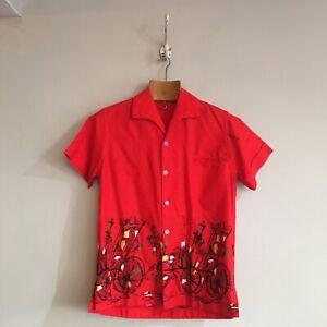 True-Vintage-1950s-Cotton-Novelty-Border-Print-Bowling-Tiki-Shirt-Top-Small