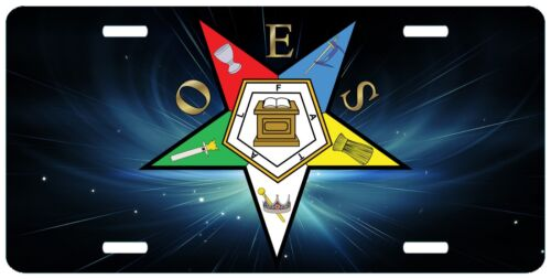 Space Order of the Eastern Star License Plate OES Masonic Auto Car Emblem