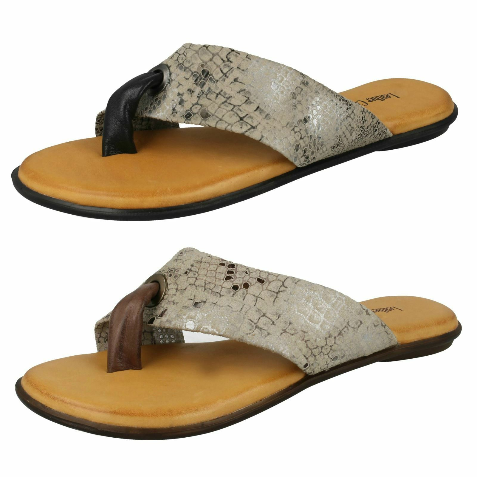 Leather Collection Ladies Toepost Sandals