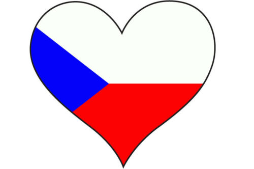car bumper HEART FILLED WITH CZECH REPUBLIC FLAG STICKER 10 cm x 10 cm