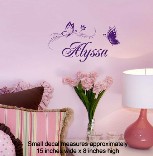 Butterfly Wall Sticker Personalized ONE NAME Vinyl Wall Decal Girl/'s Bedroom