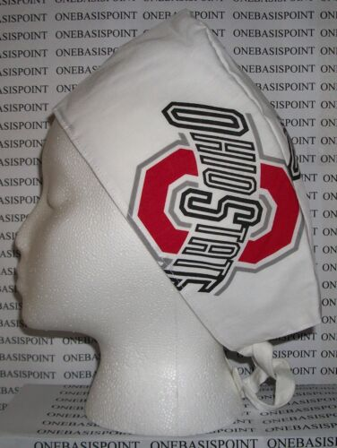 Scrub Hat Cap Made w Ohio State University Fabric OSU Buckeyes Surgical Nurse