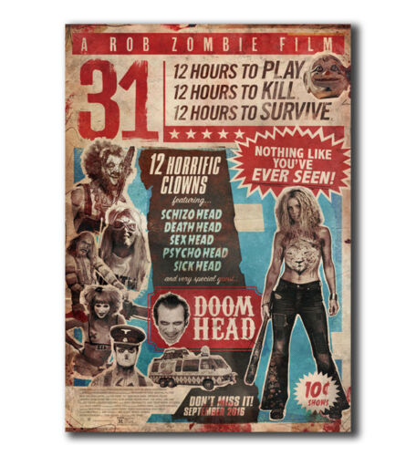 T-161 Art Poster 2016 A Rob Zombie Film 31 Horror Movie Hot Silk 24x36 27x40IN