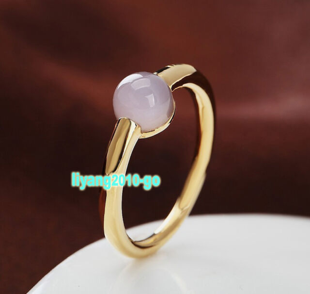 Nice Ring Light Pink Crystal Yellow Gold Ring Best Gift P017
