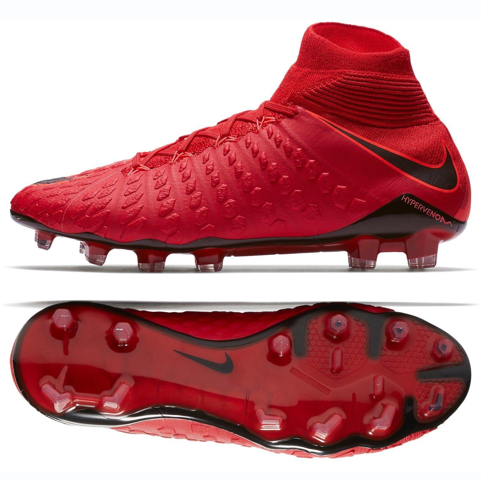 Nike hypervenom phantom iii 3 df fg 860643-617 rosso - neri gli scarpini da calcio sz - 9