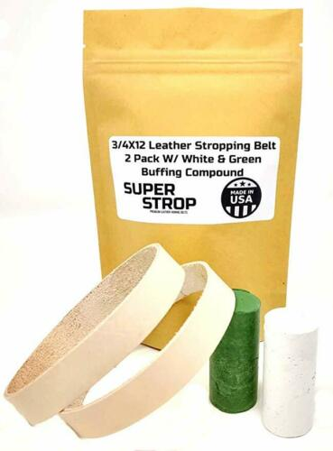 3//4X12 Inch 2 Pack Leather Honing Polishing Belt Super Strop White /& Green Cmpnd