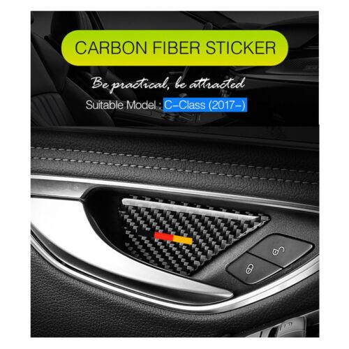 Carbon Fiber Interor Door Handle Bowl Cover Trim For Mercedes Benz C Class W205