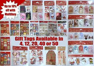 Christmas-Present-Gift-Tags-Sack-Different-Design-Cute-Traditional-4-12-20-24-50