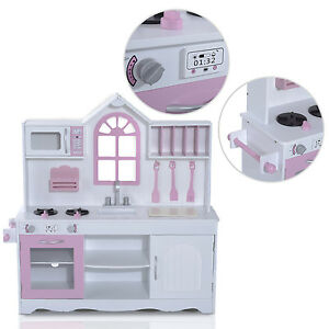 Qaba Kids Wood Kitchen Toy Cooking Pretend Play Set Toddler Wooden Playset New