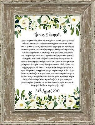 Personalized First Dance Song Lyrics Wedding and Anniversary Gift