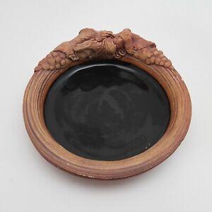 "Terrafirma Pottery Dish Black Glaze  5.5"" 1991"