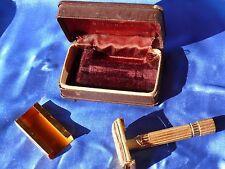 Vintage 1947 Model GOLD ARISTOCRAT GILLETTE SAFETY RAZOR w Orig Blade & Case
