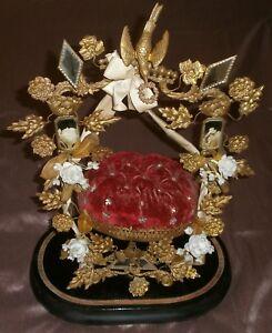 Grand-presentoir-de-globe-de-marie-Napoleon-III-metal-dore-bois-noirci-miroirs
