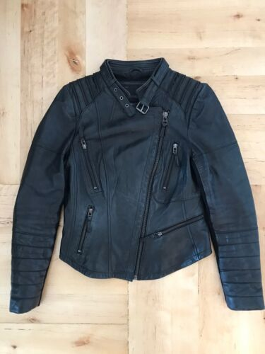 RARE ZARA BLACK LAMBSKIN LEATHER BIKER JACKET BLAZ