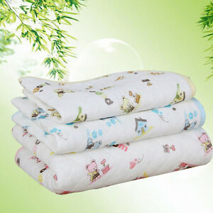 Cute soft Baby Infant Changing Pad Urine Pad Mat Cartoon Reusable Washable S/M