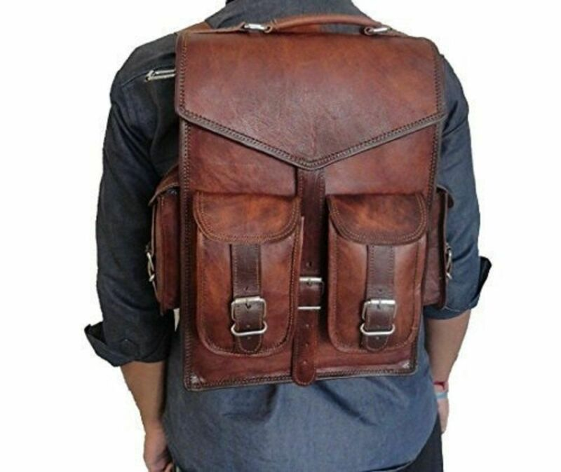 Men's Backpack Bag Laptop Satchel Briefcase Brown Vintage Real Genuine Leather