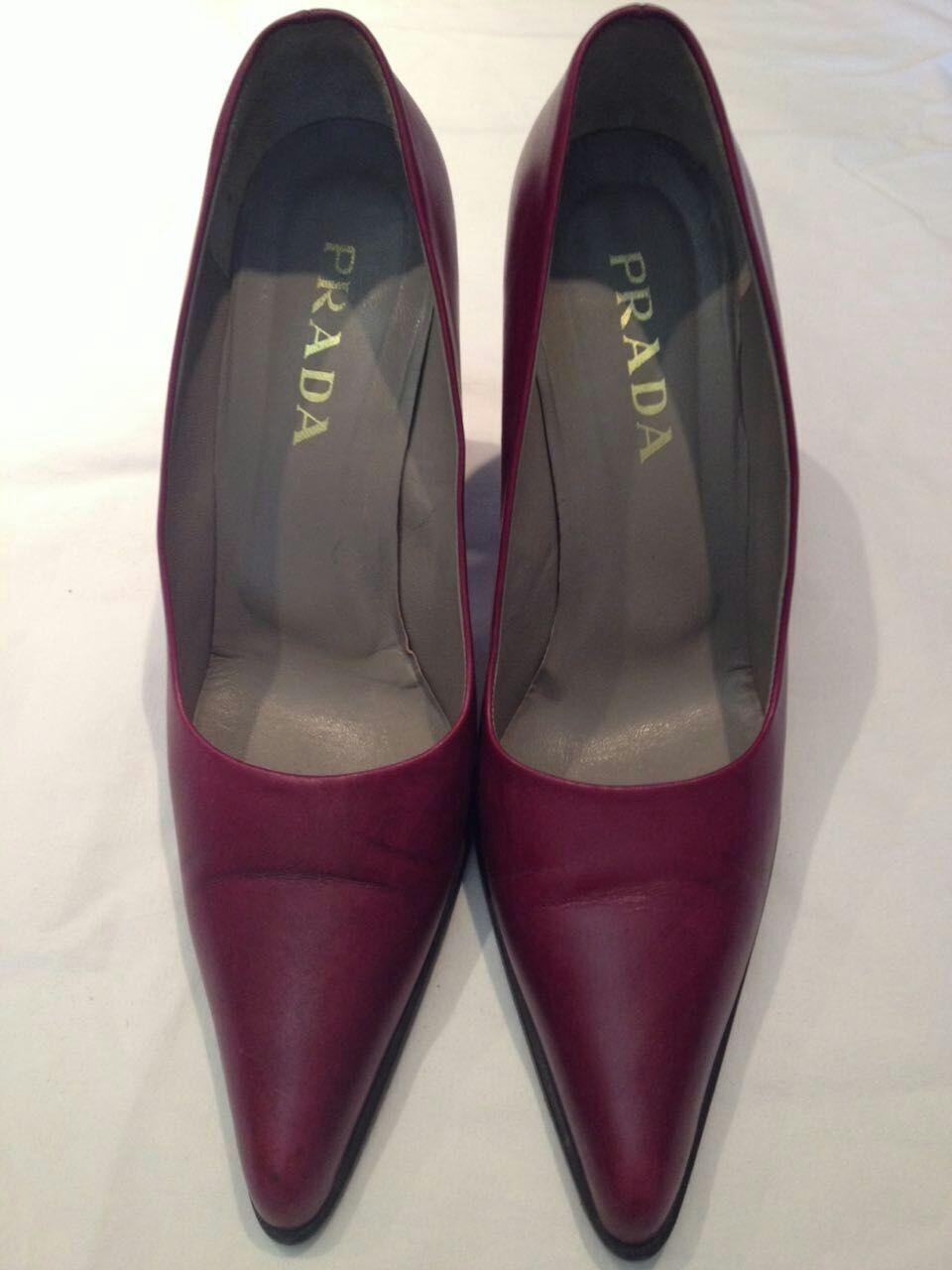 PRADA - Decolté - scarpe da donna - colore bordeaux/prugna - N° 40 - tacco 10,5