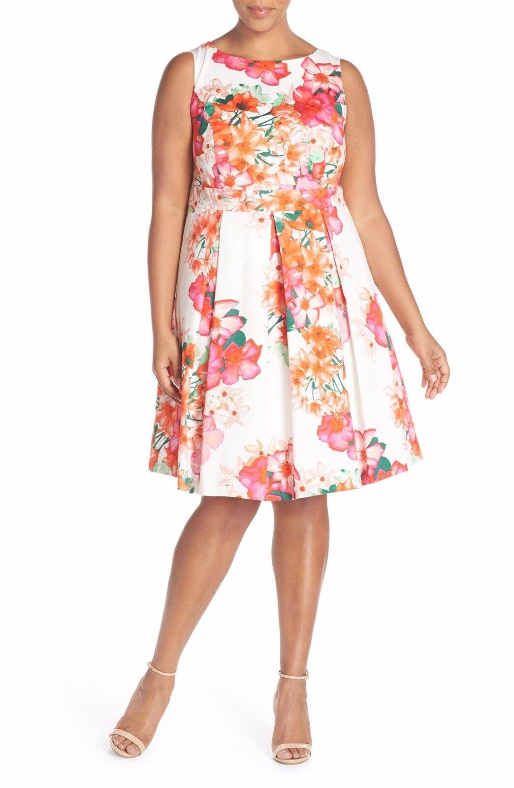 Eliza J Floral Cotton Sleeveless Fit & Flare Dress (Size 20W) - -