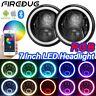 "Firebug 7"" Jeep Wrangler RGB LED Headlights Halo, Bluetooth App Controlled"