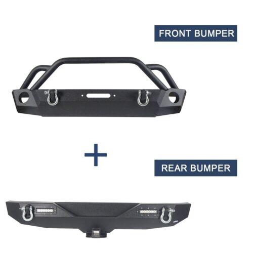 Textured Black Front Bumper Rear Bumper Bar Fit Jeep Wrangler JK//JKU 2007-2018