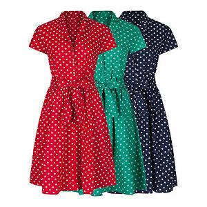 1940-039-s-WW2-Landgirl-Vintage-Style-Polka-Dot-Belted-A-Line-Shirt-Dress-8-28