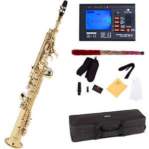 Mendini-Straight-Bb-Soprano-Saxophone-Sax-Gold-Lacquered-Tuner-MSS-L