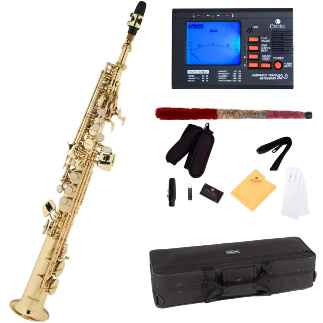 mendini by cecilio mss l 92d gold lacquer straight b flat soprano saxophone for sale online ebay. Black Bedroom Furniture Sets. Home Design Ideas