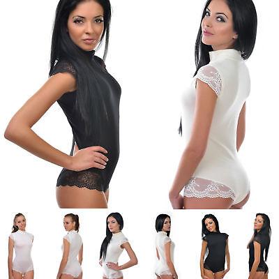 Damen Body mit sehr kurzen Spitzenärmeln und Panty mit Spitze Bodysuit Tanzbody