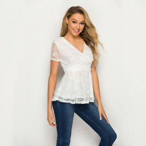 Womens-Sexy-Lace-T-shirt-Summer-Short-Sleeve-V-Neck-Shirt-Slim-Casual-Blouse-Top