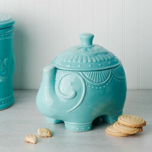 "Turquoise Festival Elephant Ceramic Cookie Jar Trunk Up 8.94/"" L"